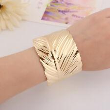 Hot Fashion Bangle Wide Cuff Opened Gold Metal Gold Coor Leaf Bracelet