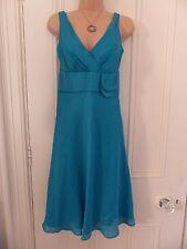 Lovely Monsoon UK 8 turquoise linen/silk sleeveless V neck dress wide waistband