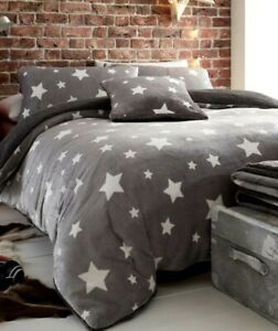 Ultra Cosy Stars Flannel with Sherpa Reverse Duvet Set Grey  Size Double