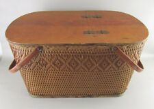 "REDMON PERU Weave Split Hinged Lid Picnic Basket Pie shelf  22"" x 14"" x 12"""