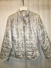 Chicos ANIMAL SHINE QUILTED JACKET Coat Gray/Silver size 3 14 16 L XL