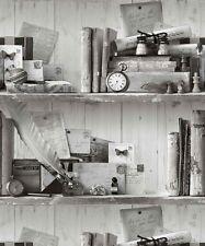 Book Case Shelf. Grandeco Eclectic Black White Wallpaper A12401