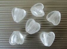 6 glass silver foil heart beads, clear