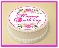 FLOWER HAPPY BIRTHDAY  EDIBLE CAKE & CUPCAKE TOPPER/DECORATION WAFER PAPER/ICING