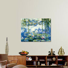 Monet Painting Reproduction Picture Home Decor Wall Art Water Lilies Blue Framed