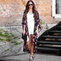 US Women Summer Floral Open Cape Casual Coat Loose Blouse kimono Jacket Cardigan