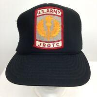 VIntage U.S. Army JROTC Hat Cap Black Patch Mesh Snap Back One Size