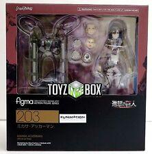 "In STOCK Good Smile Figma ""Mikasa Ackerman"" 203 Attack on Titan Action Figure"