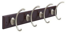 Amerock H55643-MS 18 in. Mahogany Contemporary Hook Rack with Silver Hooks