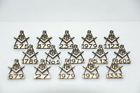 15 x MASONIC GIFT PERSONALISED LAPEL BADGES  WITH OWN LODGE NO WITH OR WITHOUT G