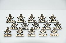 15 x MASONIC PERSONALISED LAPEL BADGES  WITH OWN LODGE NUMBER WITH OR WITHOUT G