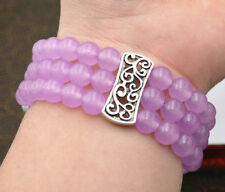 Natural 3 row Women's 8mm Purple gem Beads Stretch Tibetan silver Bracelet