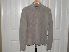 Ralph Lauren Gray Wool Cashmere Crochet Knit Cardigan Sweater M