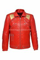 New Men's BEAT IT Red Gold Michael Jackson Style MUSIC Real Sheep Leather Jacket