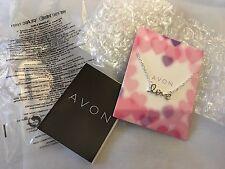 "New Avon Carla Bracelet Silver Coloured Dainty Bracelet With Wording Love 7-8"""