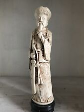 ARNART ASIAN STATUE VINTAGE FAUX BONE CARVED FIGURINE SCULPTURE IN ROBE