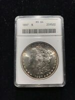 1897 P Morgan Silver Dollar ANACS MS64 Uncirculated BU UNC Coin $1 RAINBOW TONED
