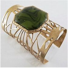Designer Inspired Fashion Women Cuff Bracelet Green Stone.