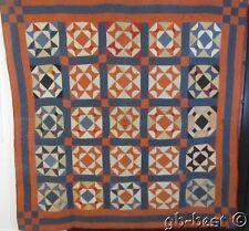 """Rare c 1890s Bow Tie Antique Quilt Around in circles 85"""" x 82"""" indigo blue"""