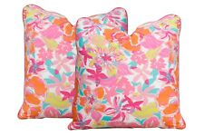 Lilly Pulitzer's Besame Mucho Feather/Down Pillows - a Pair