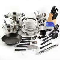 Kitchen Combo Set Home Essential Total Cookware Dinnerware Pots and Pans 83pcs