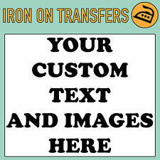 Custom Iron on T Shirt Transfer Personalised Text Quality Prints Your Name Image Light Garments Black A5 (medium)