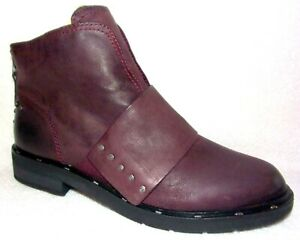 New OTBT Frontage Eggplant Leather Studded Booties Ankle Boots 8.5 M