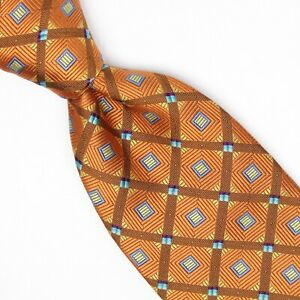 Robert Talbott Best of Class Mens Silk Necktie Copper Gold Brown Blue Check Tie