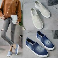 Women's Denim Canvas Loafers Round Toe Casual Flats Shoes Slip On US 4.5-10.5
