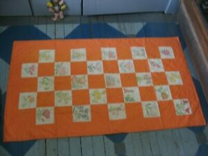 """Hand & machine quilted baby or lap quilt Hand drawn flowers 36"""" by 62"""""""