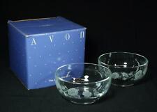 Set Of 2 Vintage Avon Hummingbird Crystal Dessert Bowls 1986