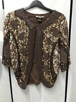 New Biba Heavily Beeded Party Cocktail Glam Chic Lux Brown Bolero Jacket Size S