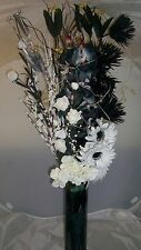 Black and white Dried and artificial flowers mixed Bouquet  no vase