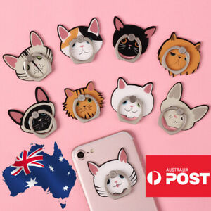 Cute Finger Ring Holder Mount Stand Grip iPhone Samsung Phone Cat Cartoon