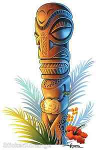 Tiki Natural Sticker Decal Artist Doug Horne H11