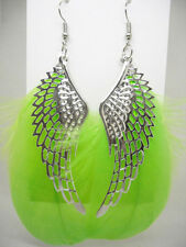 F1042 hot wing Light green Feather cute dangle earrings hot sell jewelry