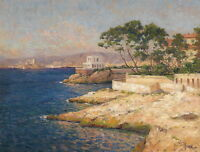 Art Oil painting seascape beach with trees house by the ocean - landscape canvas