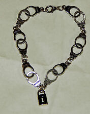 """BDSM KINK Handcuff Bracelet 8"""" with Lock by Slave Violet Jewelry Made in the USA"""