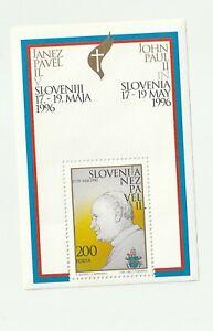 Slovenia 1996 Pope John Paul II Souvenir Mini-Sheet MNH