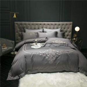 Silver Grey Egyptian Cotton Embroidery Bedding Set Duvet Cover Sheet Breathable