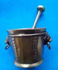 mortier et pilon bronze d'art marque Delabre hauteur de 6.7 cm 716 g.   réf.D10
