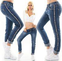 Damen Jeans Hose Baggy Boyfriend Galon Kontrast Streifen blau M L XL 2XL 3XL 4XL