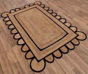 3x5 feet square scalloped jute black border rug jute boho rug home decor rugs