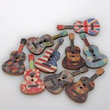 Novelty Guitar Wood Buttons Sewing Scrapbooking Craft Cloth Accessories 50PCs
