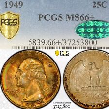 1949 MS66+ *CAC* PCGS - Golden Rainbow Toned - Washington Quarter .25c - PQ RARE