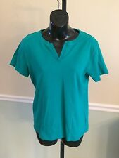Jones New York Teal Cotton Short Sleeved Shirt - Large