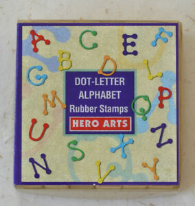 Hero Arts LL100 Dot-Letter Alphabet - 30 tiny wood mounted rubber stamps- Used