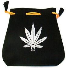 "Black Velvet Bag / Pouch 5"" x 5"": Hemp Leaf Design with Drawstring (Jewelry)"