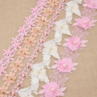 Flower Lace Pearl Trim Sewing Applique Fabric  Embroidery Wedding Bridal Craft