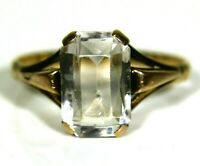 Art Deco Rock Crystal 9ct Rose Gold Ring size J 1/2 ~ 5